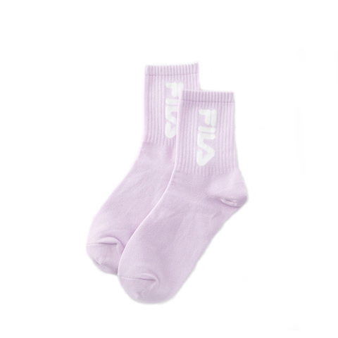 FILA 造型薄底中筒襪-粉紫 SCV-1301-PL