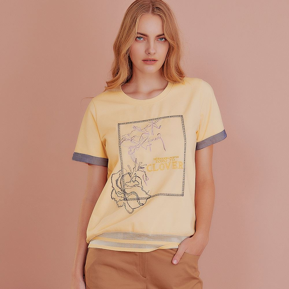 OUWEY歐薇 質感字母刺繡網紗拼接微彈上衣(米)J59110