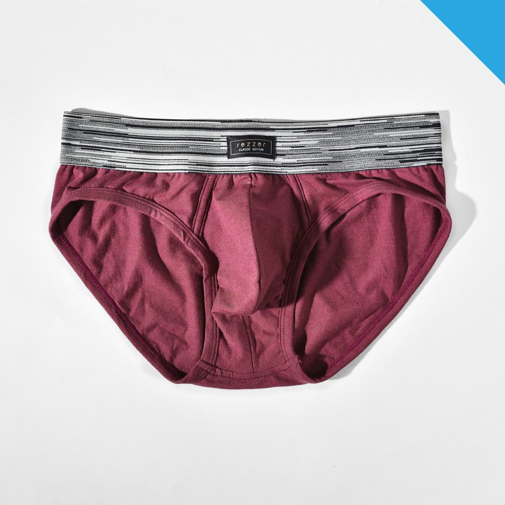 ▶低腰◀三角褲- 光速旅行 酒紅【彈性棉】