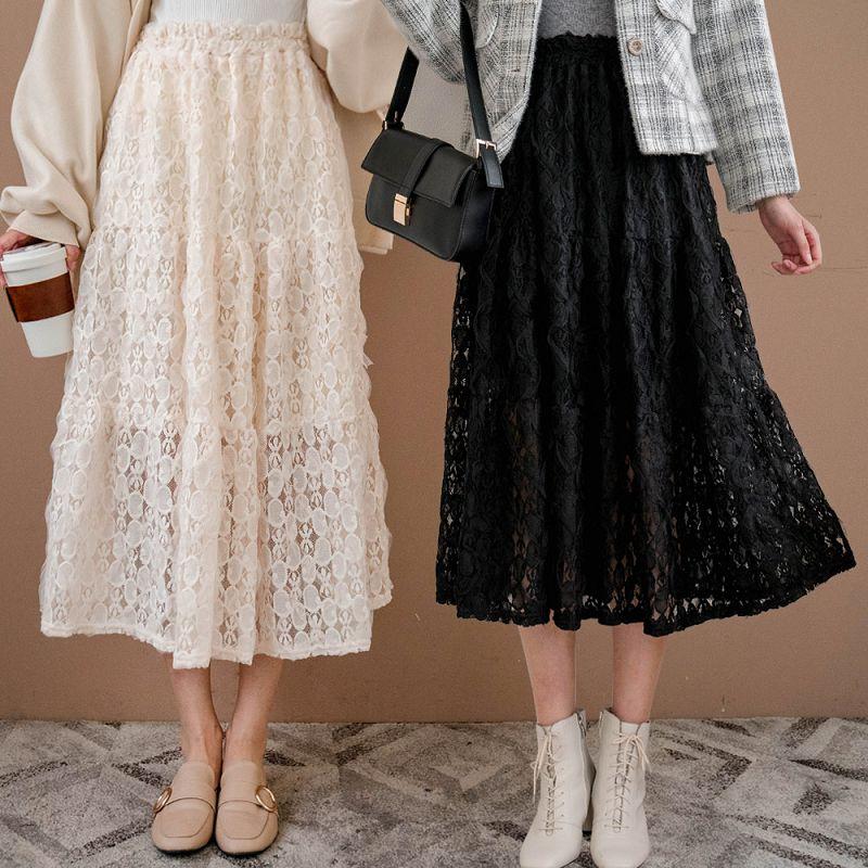 現貨★75折★刺繡蕾絲雙層鬆緊長裙(共2色)1117 【NH2723】