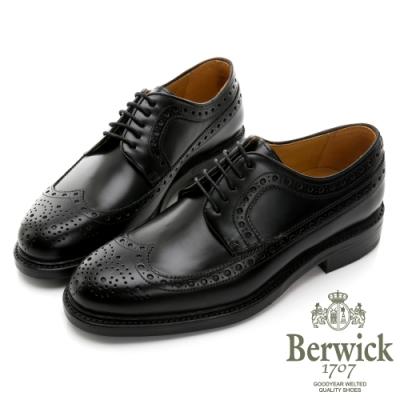 BERWICK西班牙進口-固特異手工縫線鋸齒翼紋雕花牛津鞋 -黑 515028KM