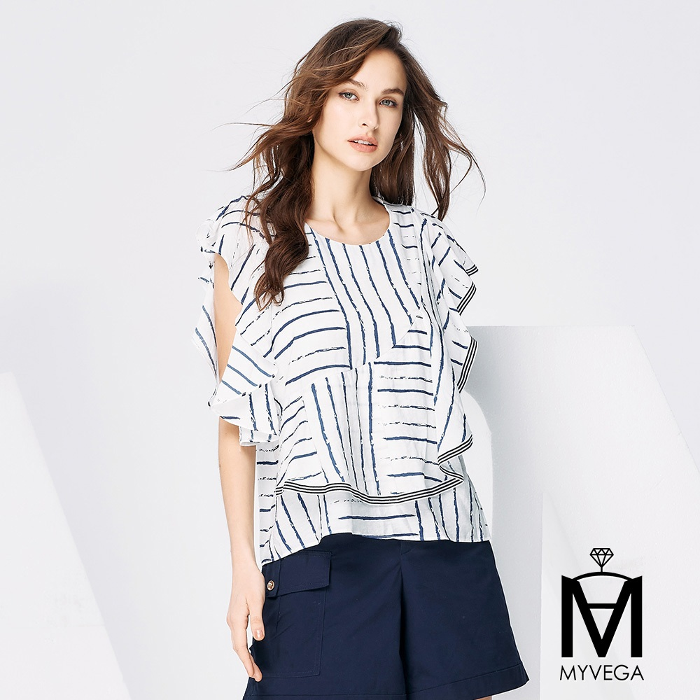 【麥雪爾】MA不規則線條上衣-白