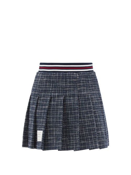 Thom Browne - Pleated Check Cotton-blend Tweed Mini Skirt - Womens - Navy