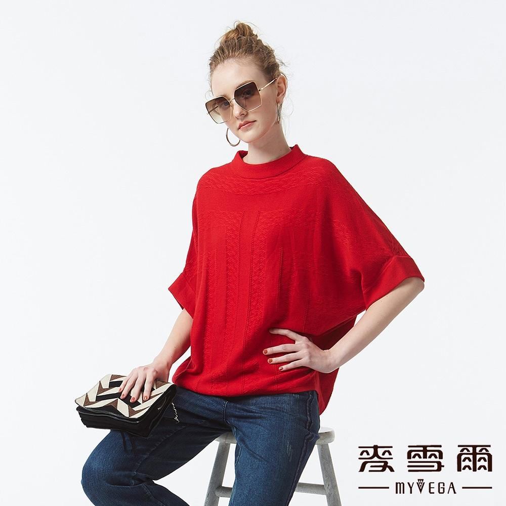 【麥雪爾】質感純色蝙蝠袖上衣-紅
