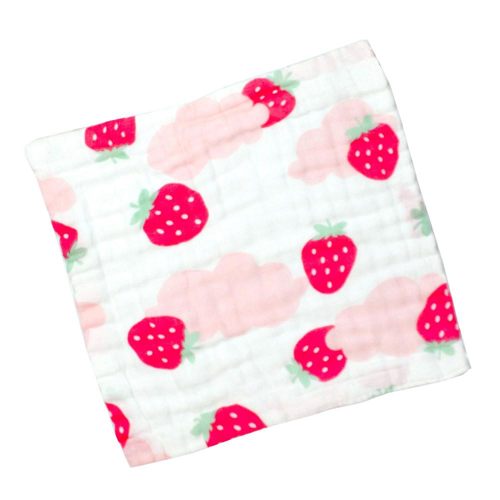 泡泡六層紗布巾 手帕小方巾 五入組 甜蜜小草莓【CH003C01311】