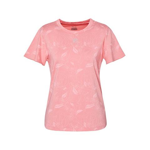 FILA 玫瑰印花短袖T恤-粉色 5TEV-1601-PK