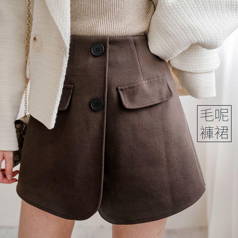 現貨★8折★造型雙釦交叉片毛料褲裙(共3色,M-L)0119 【NH3604】