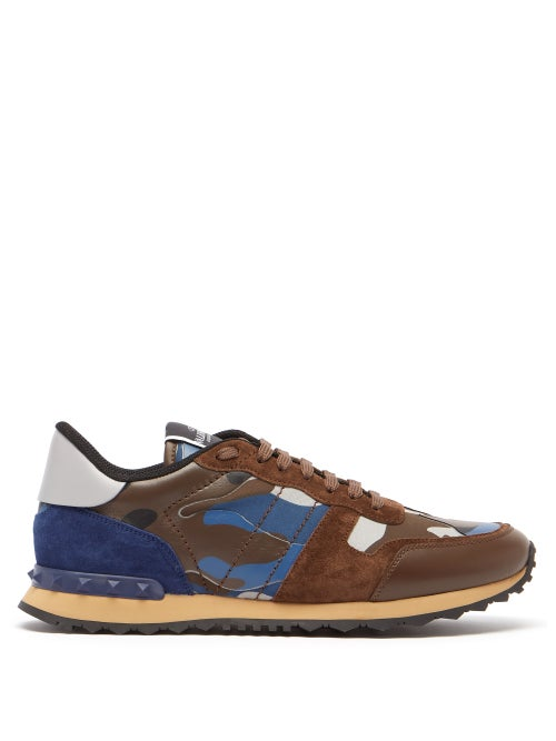 Valentino Garavani - Rockrunner Camo-print Suede And Leather Trainers - Mens - Blue Multi
