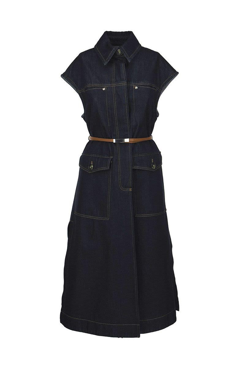 SPORTMAX FANFARA - Cotton denim shirt dress