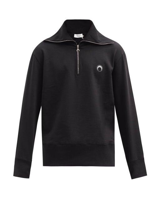 Marine Serre - Optic Moon-print Zip-neck Organic-cotton Sweater - Mens - Black