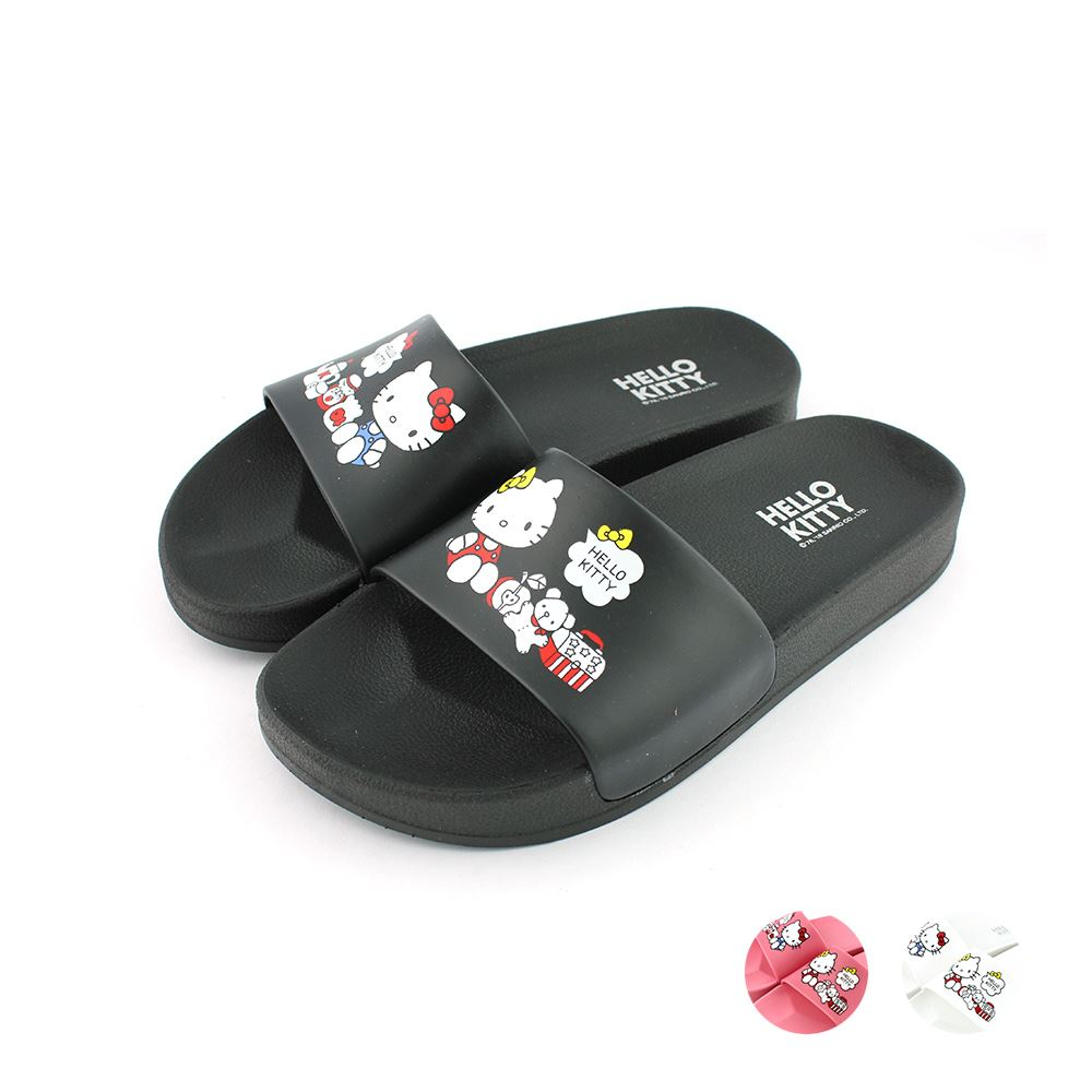 HELLO KITTY艾樂跑女鞋-不對稱圖面拖鞋-黑/粉/白(919140)