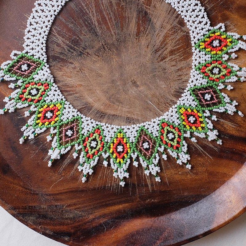 現貨供應 原住民媽媽純手工編織串珠 彩色菱形圖騰頸鍊