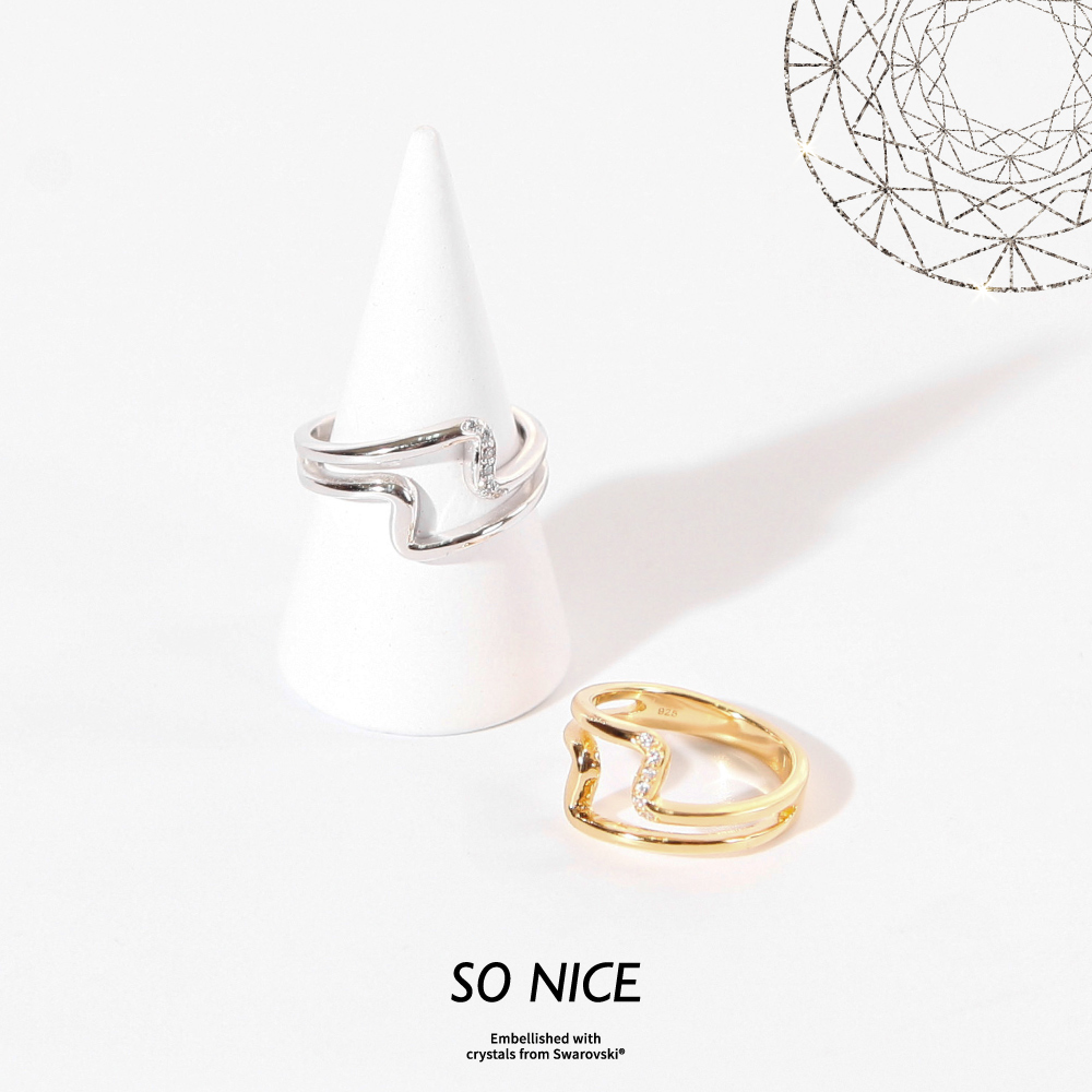 SO NICE施華洛世奇系列 | 文青樣貌純銀戒指
