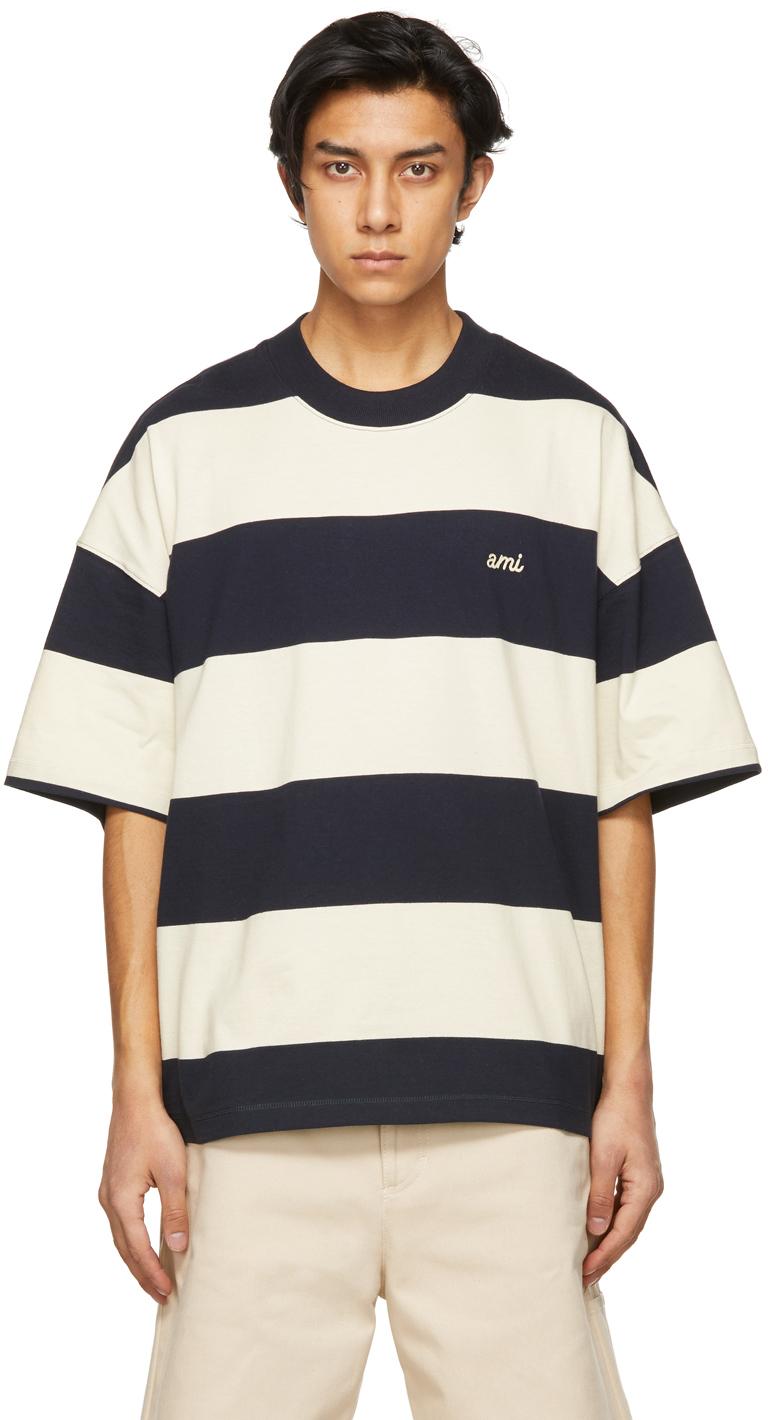 AMI Alexandre Mattiussi 海军蓝 & 灰白色 Rugby 条纹 T 恤