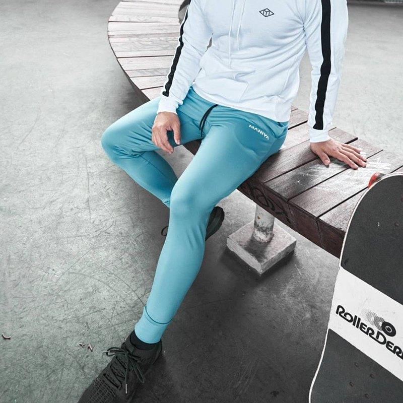 快速出貨| 【Athlastic系】純色機能長褲 (湖藍)