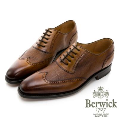 BERWICK西班牙進口-固特異工藝雅痞真皮十字壓紋紳士鞋 -棕 535043KM