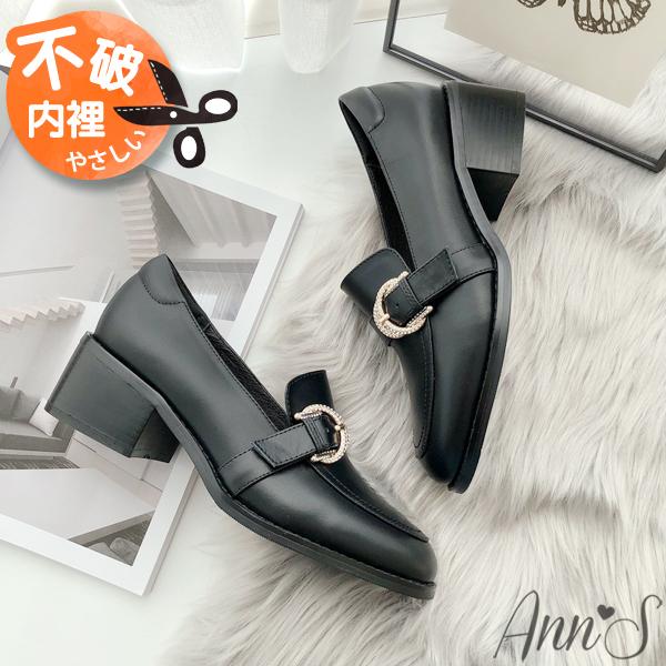❀足弓系列第二件88折❀Ann'S日系微甜-小羊皮閃耀鑽石扣粗跟紳士鞋5cm-黑