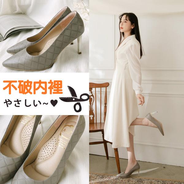 ❀足弓系列第二件88折❀Ann'S嚮往的女人味-小香菱格紋小羊皮電鍍細跟尖頭高跟鞋7.5cm-灰
