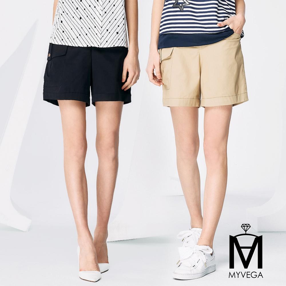 【麥雪爾】MA高含棉貝殼釦休閒短褲-共2色