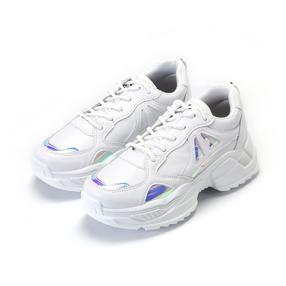 ARRIBA艾樂跑女鞋-炫光休閒老爹鞋-白(AB9014)
