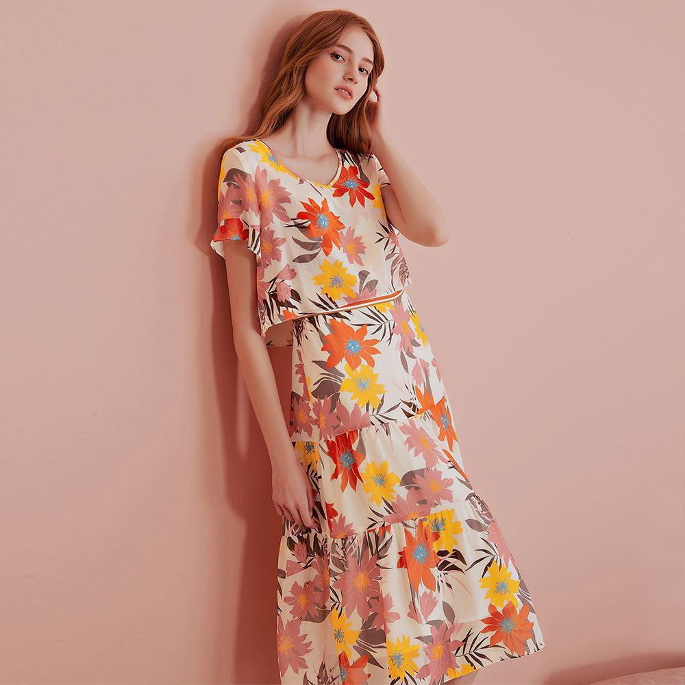 OUWEY歐薇 暖色調歐洲花版印花雪紡假兩件洋裝(桔)J59748