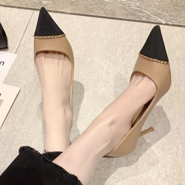 尖頭鞋.氣質優雅拼接鑲金邊細高跟包鞋.白鳥麗子