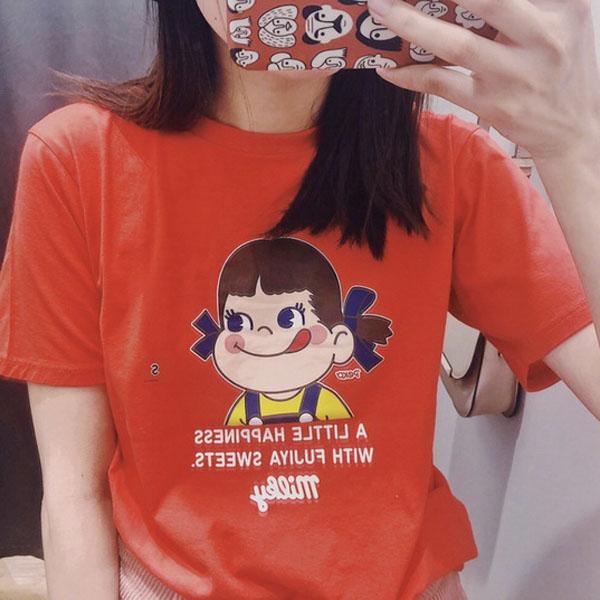 9th street貝果女孩卡通手繪上衣(預購)(共兩色)