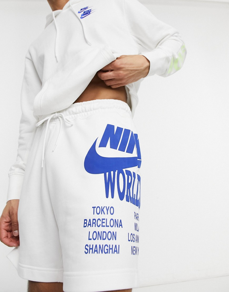 Nike World Tour Pack graphic shorts in white