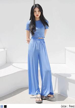 韓國空運 - 波浪邊羅紋彈力短版T恤 短袖上衣