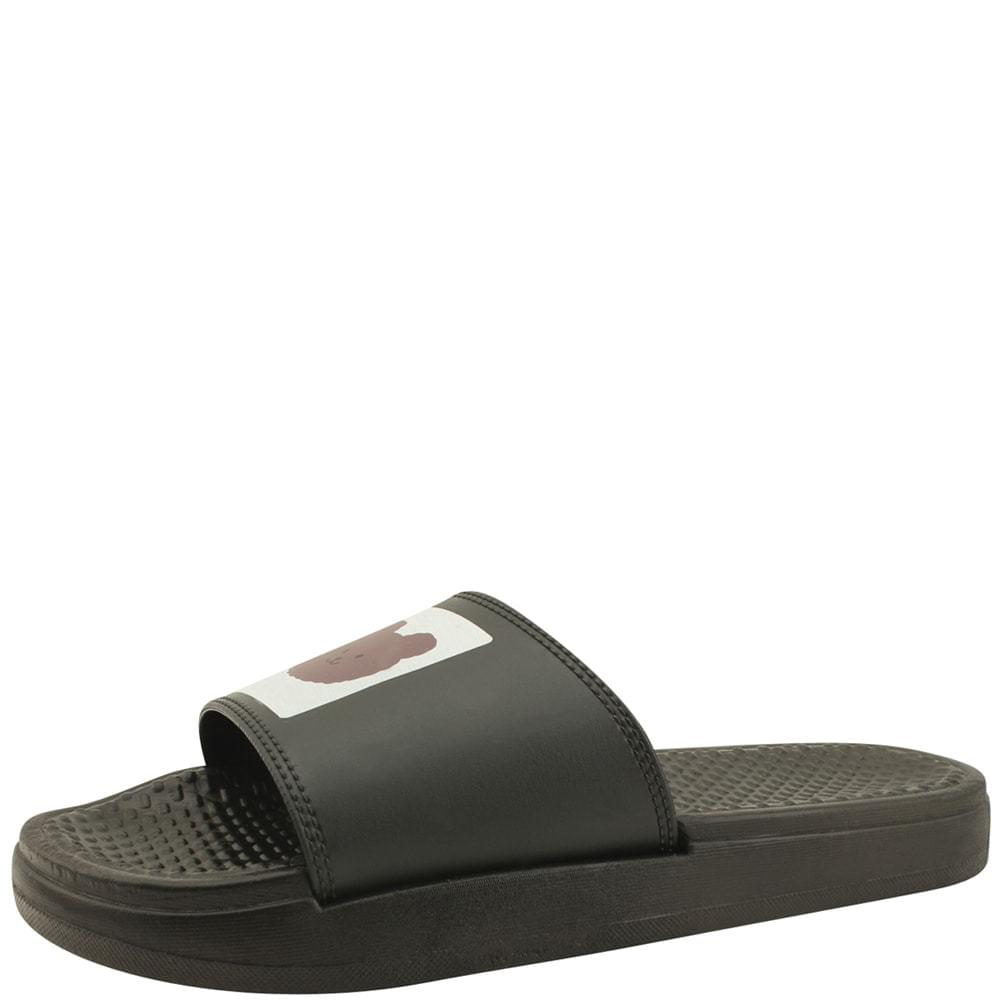 韓國空運 - Bare fluffy cute slippers black 涼鞋