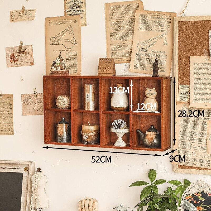 牆上格子架墻上實木格子掛壁收納盒窄長型免打孔墻面裝飾復古置物展示架子 bw713