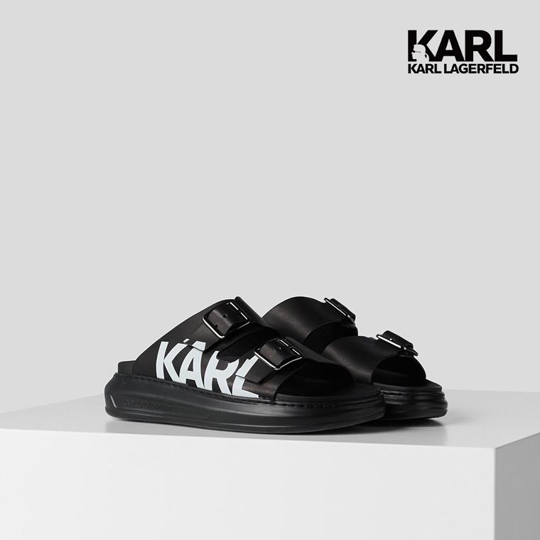 【KARL LAGERFELD】KAPRI寬帶KARL拖鞋-黑 (原廠公司貨)