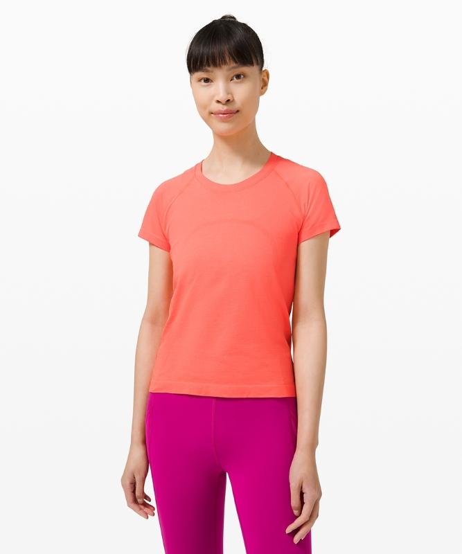 Lululemon Women's Swiftly Tech Short Sleeve 2.0 Race Length, Sunset/Sunset Size 14