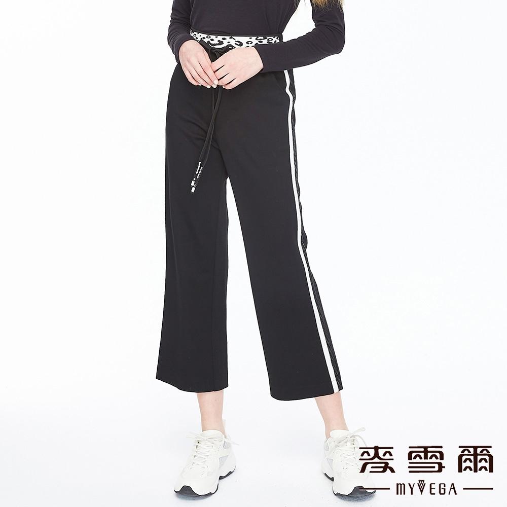 【麥雪爾】拼接豹紋束繩休閒褲