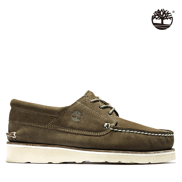 Timberland 男款橄欖綠絨面革休閒系帶帆船鞋|A2NVE302