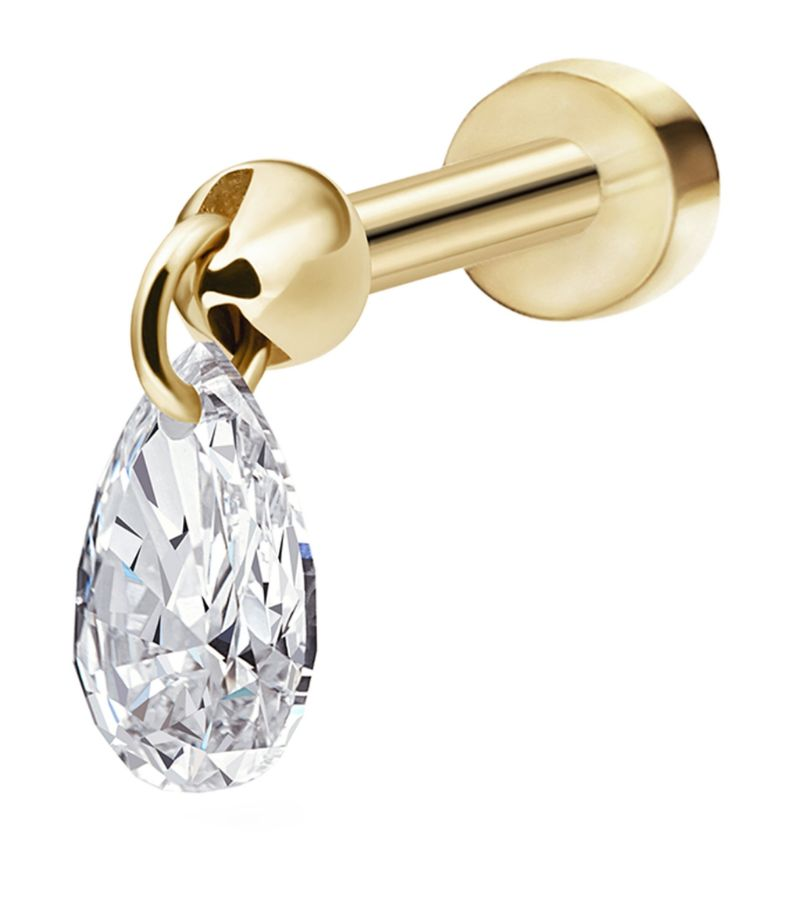 Maria Tash Floating Pear Diamond Charm Threaded Stud Earring (4Mm)