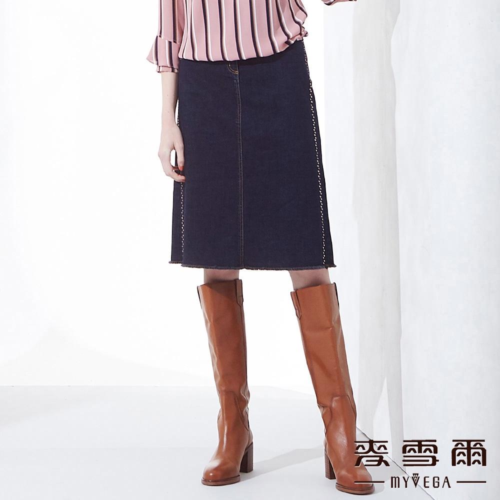 【麥雪爾】純棉水鑽彈性八分牛仔裙-深藍