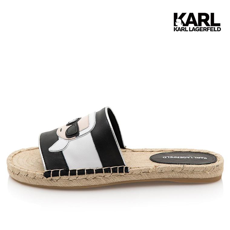 【KARL LAGERFELD】KAMINI IKONIK草編拖鞋-黑 (原廠公司貨)