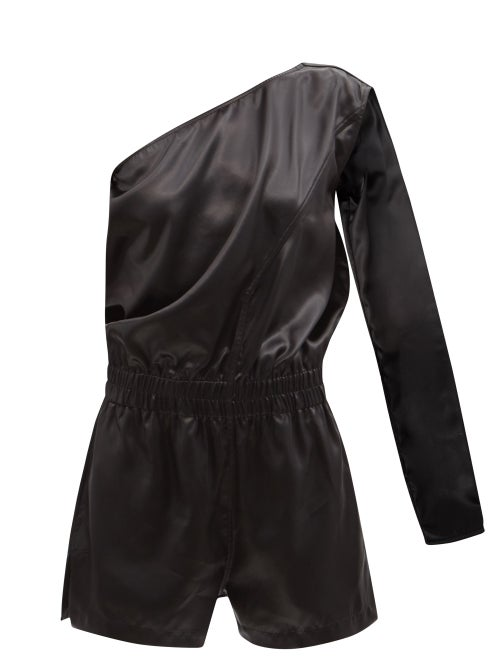 Rick Owens - One-shoulder Satin-faille Playsuit - Womens - Black