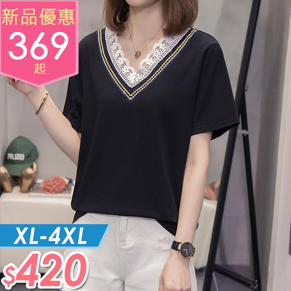 上衣 蕾絲V領撞色上衣 XL-4XL 棉花糖女孩【NW09104】