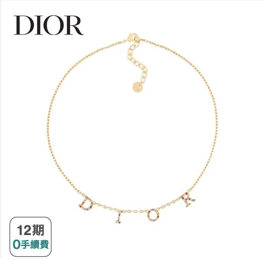 【Dior】DIO(R)EVOLUTION 頸鏈 (金色色調金屬和多色水晶/ 可調節長度:39 - 44 厘米)