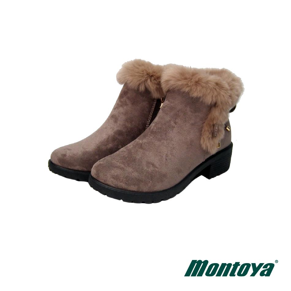 montoya 女款 咖啡色 毛毛仿麂皮布料造型短靴-M08804