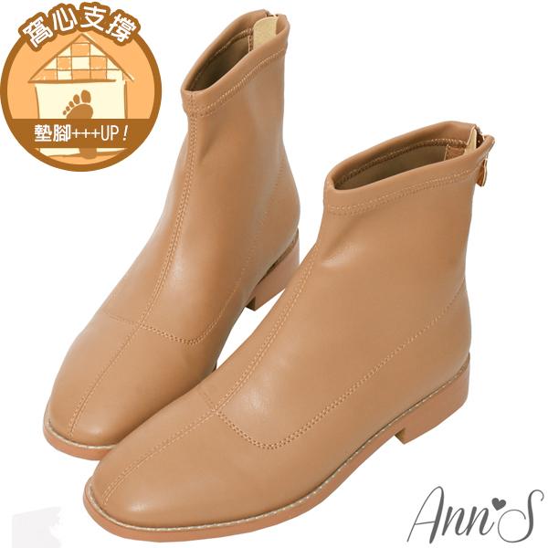 ❀足弓系列第二件88折❀Ann'S高個子女孩看這裡-獨家方楦素面皮革平底短靴-卡其