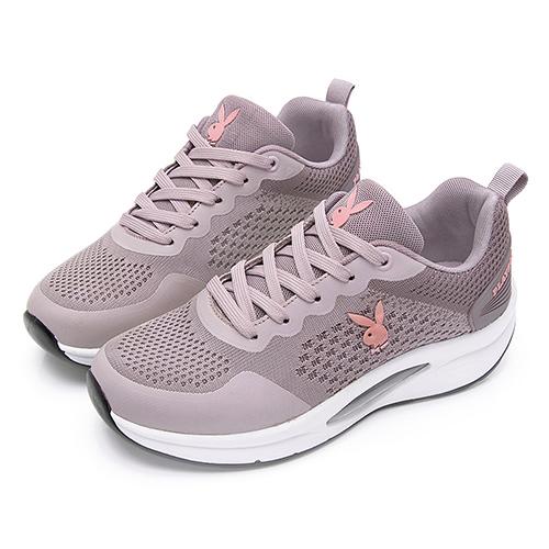 PLAYBOY 輕量飛織 足弓氣墊休閒鞋-粉紫(Y7237)