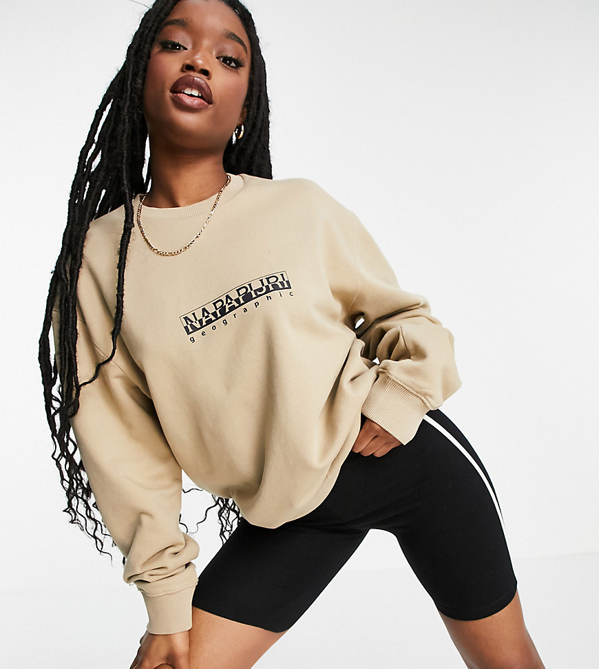 Napapijri Box sweatshirt in beige Exclusive at ASOS-White