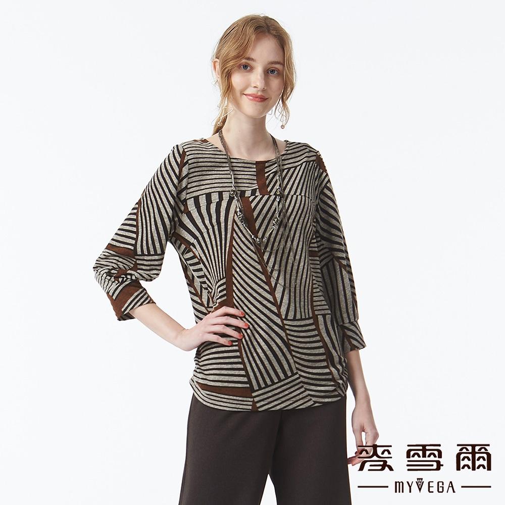 【麥雪爾】立體剪裁變化線條七分袖造型上衣-咖啡