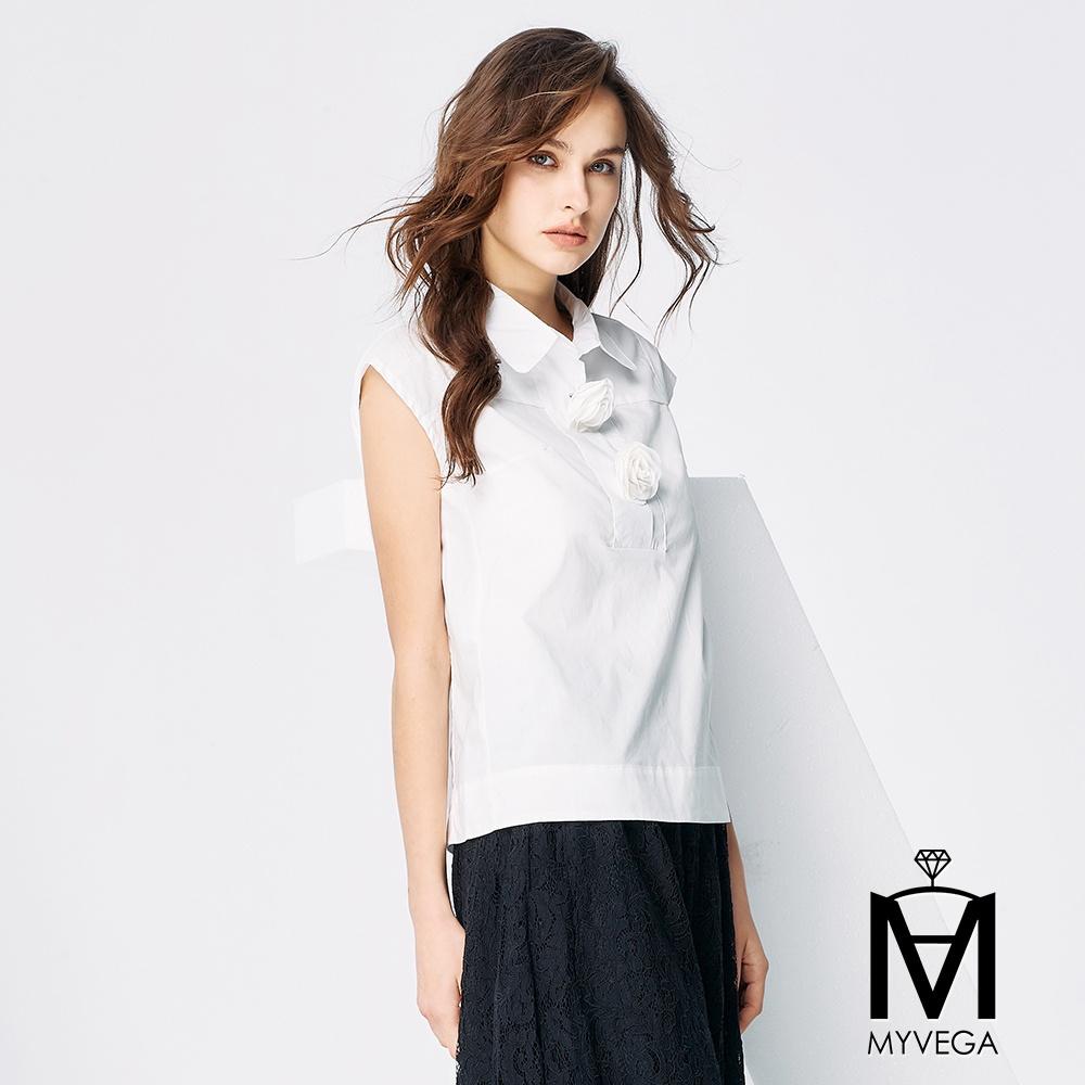 【麥雪爾】MA純棉俐落造型上衣-白