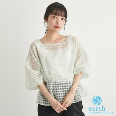 earth music 2WAY正反穿透視格紋蓬袖上衣