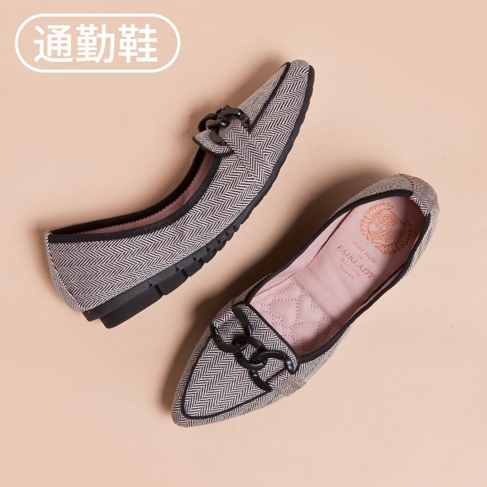 【新品】我的旅行日記-通勤版 俐落尖頭釦飾增高平底鞋  斜紋黑 (502296)