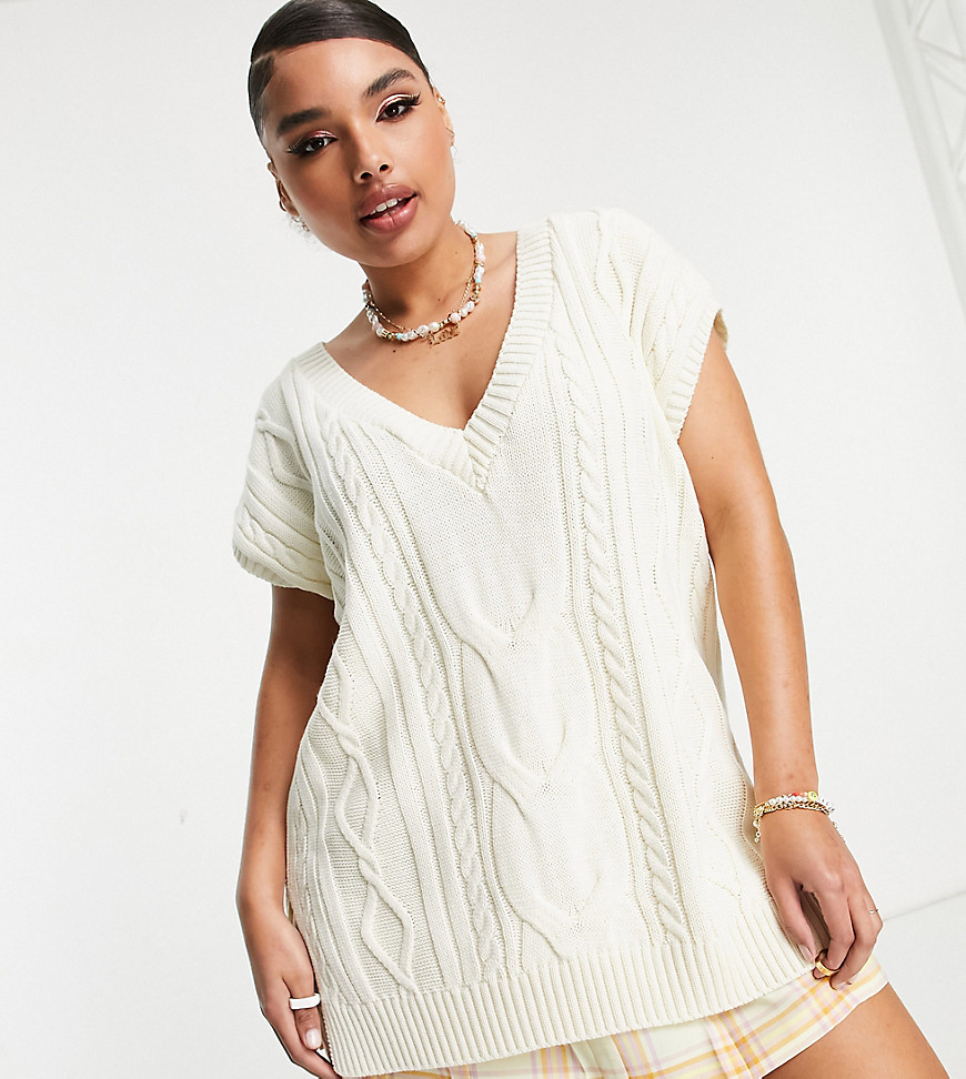 ASOS DESIGN Curve long line knitted cable knitted tank-White